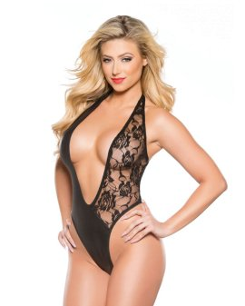 "Bodis ""Lace & Wet Look Halter Teddy"" - Allure"