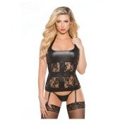 "Korsetas ""Lace & Wet Look Corset"""