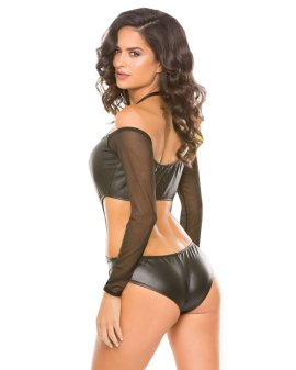 "Bodis ""Wetlook & Mesh Romper"" - Allure"