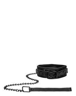 """Juodas antkaklio ir pavadėlio rinkinys """"Luxury Collar with Leash"""" - Ouch!"""