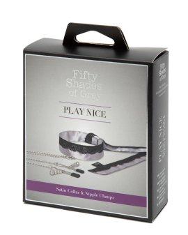 """Antkaklio ir spenelių spaustukų rinkinys """"Play Nice"""" - Penkiasdešimt pilkų atspalvių kolekcija"""