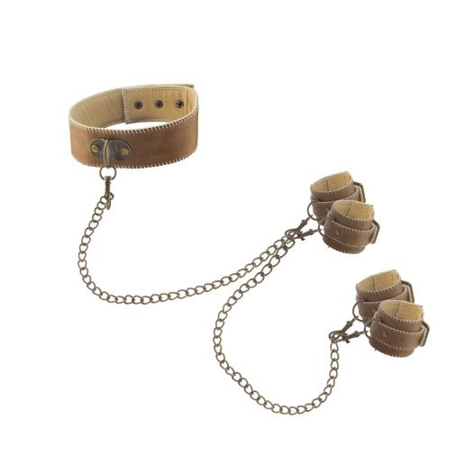 """Suvaržymo sistema """"Collar With Hand And Ankle Cuffs"""" - Ouch!"""