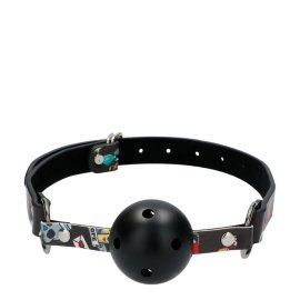 "Burnos kaištis ""Breathable Ball Gag with Printed Leather Straps"" - Ouch!"