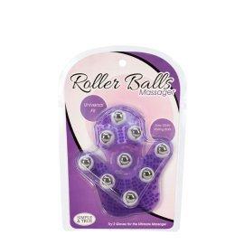 """Violetinis kūno masažuoklis - pirštinė """"Roller Balls Massager"""" - BMS Factory"""