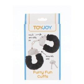 "Metaliniai juodi antrankiai ""Furry Fun Cuffs"" - ToyJoy"