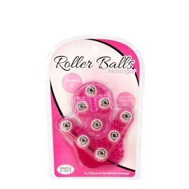 "Rožinis kūno masažuoklis - pirštinė ""Roller Balls Massager"" - BMS Factory"