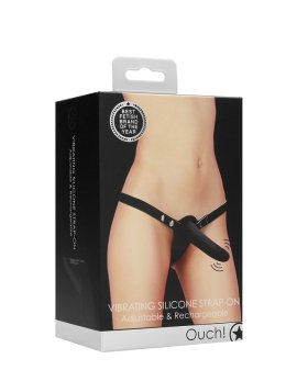 "Juodas vibruojantis strap-on dildo ""Vibrating Silicone Strap-on"" - Ouch!"