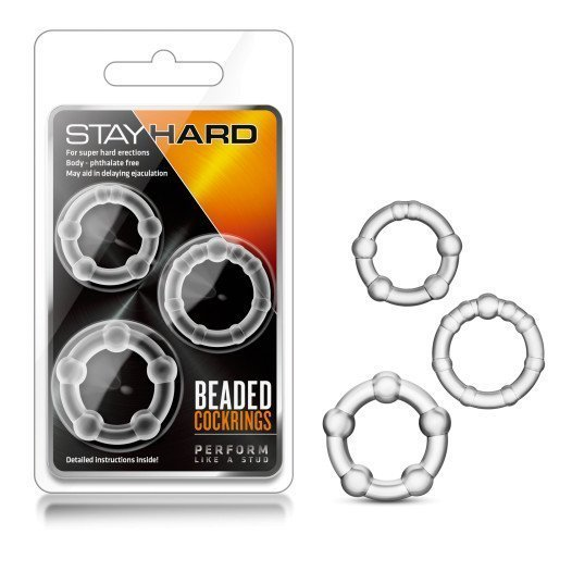 "Penio žiedų rinkinys ""Stay Hard Beaded Cockrings"" - Blush"