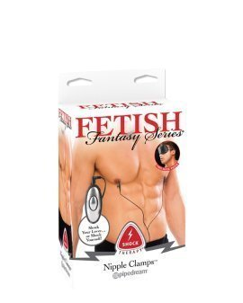 "Elektrostimuliaciniai spenelių spaustukai ""Shock Therapy Nipple Clamps"" - Fetish Fantasy"