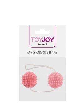 """Rožiniai vaginaliniai kamuoliukai """"Girly Giggle Love Balls"""" - ToyJoy"""
