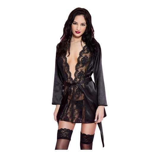 "Chalatas ""Satin Robe with Lace"" - Music Legs"
