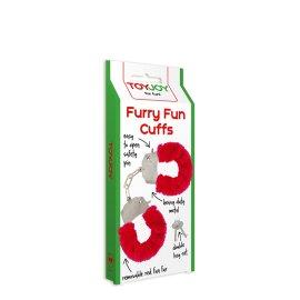 """Metaliniai raudoni antrankiai """"Furry Fun Cuffs"""" - ToyJoy"""